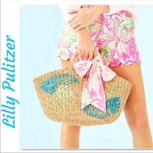 Lilly Pulitzer Flora Natural Straw Tote NWT